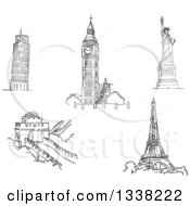 Clipart Of Black And White Sketches Of The Leaning Tower Of Pisa Big Ben Statue Of Liberty Great Wall Of China And Eiffel Tower Royalty Free Vector Illustration by Vector Tradition SM