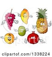 Clipart Of Cartoon Grape Mango Pineapple Kiwi Apricot And Pomegranate Characters Royalty Free Vector Illustration