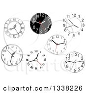 Clipart Of Wall Clocks 2 Royalty Free Vector Illustration