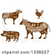 Clipart Of Brown Silhouetted Cow Chicken Sheep And Pig Showing Cuts Of Meat And Text 2 Royalty Free Vector Illustration
