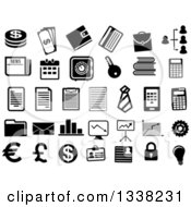 Clipart Of Black And White Finance Icons Royalty Free Vector Illustration by Vector Tradition SM