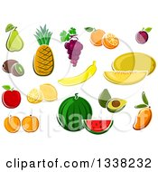 Clipart Of Cartoon Fruits Royalty Free Vector Illustration