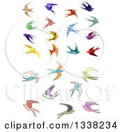 Clipart Of Colorful Flying Origami And Sketched Swallow Birds Royalty Free Vector Illustration