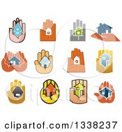 Clipart Of Hands Holding Houses Royalty Free Vector Illustration