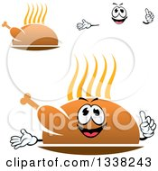 Clipart Of A Cartoon Face Hands And Steamy Hot Roasted Turkeys Or Chickens Royalty Free Vector Illustration by Vector Tradition SM