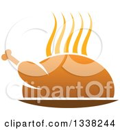 Clipart Of A Steamy Hot Roasted Turkey Or Chicken Royalty Free Vector Illustration