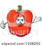 Clipart Of A Cartoon Red Paprika Bell Pepper Character Presenting And Giving A Thumb Up Royalty Free Vector Illustration