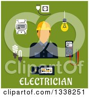 Clipart Of A Flat Design Male Electrician With Icons Over Text On Green Royalty Free Vector Illustration