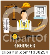 Clipart Of A Flat Design Male Engineer With Items Over Text On Brown Royalty Free Vector Illustration