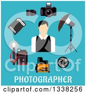 Clipart Of A Flat Design Male Photographer With Accessories Over Text On Blue Royalty Free Vector Illustration