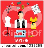 Clipart Of A Flat Design Taylor With Accessories On Red Royalty Free Vector Illustration by Vector Tradition SM