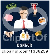 Clipart Of A Flat Design Male Banker With Icons On Navy Blue Royalty Free Vector Illustration