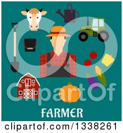 Clipart Of A Flat Design Male Farmer With Icons Over Text On Turquoise Royalty Free Vector Illustration