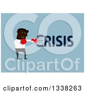 Clipart Of A Flat Design Black Businessman Punching Out A Crisis Over Blue Royalty Free Vector Illustration
