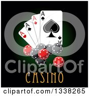 Clipart Of Shiny Poker Chips And Playing Cards Over Casino Text On Dark Green Royalty Free Vector Illustration