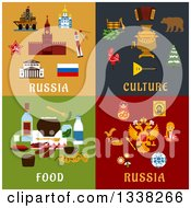 Clipart Of Russia Culture And Food Flat Designs Royalty Free Vector Illustration by Vector Tradition SM