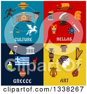 Clipart Of Culture Hellas Greece And Art Flat Designs Royalty Free Vector Illustration