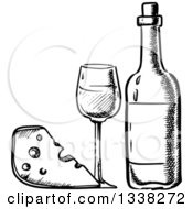 Clipart Of A Black And White Sketched Cheese Wedge And Wine Royalty Free Vector Illustration by Vector Tradition SM