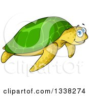Clipart Of A Cartoon Happy Sea Turtle Royalty Free Vector Illustration by Vector Tradition SM