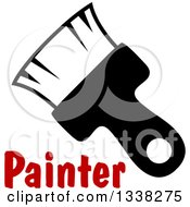 Clipart Of A Black Paintbrush Over Red Text Royalty Free Vector Illustration by Vector Tradition SM