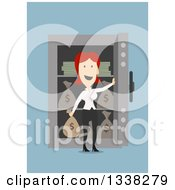 Clipart Of A Flat Design Red Haired White Businesswoman With An Open Safe Full Of Money Bags And Cash On Blue Royalty Free Vector Illustration