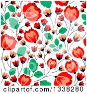 Seamless Red Poppy Flowers And Green Leaves Floral Background Pattern