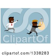 Clipart Of A Flat Design Of A Black Business Man Chasing After A Robber That Stole His Idea On Blue Royalty Free Vector Illustration by Vector Tradition SM