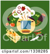 Clipart Of A Flat Design Sauce Pan And Vegetables On Green Royalty Free Vector Illustration