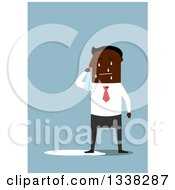 Clipart Of A Flat Design Black Businessman Crying Over Blue Royalty Free Vector Illustration