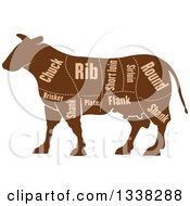 Clipart Of A Brown Silhouetted Cow With Cuts Of Beef Meat And Text 2 Royalty Free Vector Illustration by Vector Tradition SM