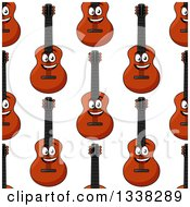 Clipart Of A Seamless Background Pattern Of Cartoon Happy Guitars Royalty Free Vector Illustration by Vector Tradition SM