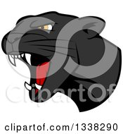 Clipart Of A Roaring Black Panther Head Royalty Free Vector Illustration by Vector Tradition SM