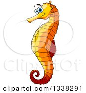 Clipart Of A Cartoon Orange Seahorse Royalty Free Vector Illustration