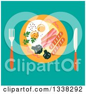 Clipart Of A Flat Design Breakfast Plate Over Turquoise Royalty Free Vector Illustration by Vector Tradition SM