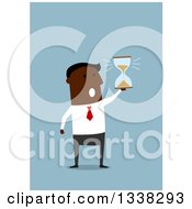 Clipart Of A Flat Design Black Businessman Holding An Hourglass On Blue Royalty Free Vector Illustration