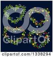 Clipart Of Floral Heart Shaped Wreaths On Dark Blue Royalty Free Vector Illustration