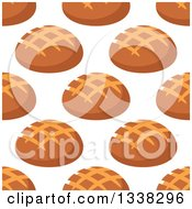 Clipart Of A Seamless Background Pattern Of Boule Bread Royalty Free Vector Illustration