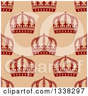 Clipart Of A Seamless Pattern Background Of Red Crowns On Tan Royalty Free Vector Illustration