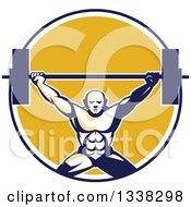Clipart Of A Retro Strongman Bodybuilder Lifting A Barbell Over His Head In A Blue White And Yellow Circle Royalty Free Vector Illustration