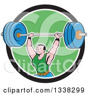 Clipart Of A Retro Cartoon Strongman Bodybuilder Lifting A Barbell Over His Head Emerging From A Black White And Green Circle Royalty Free Vector Illustration