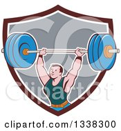 Clipart Of A Retro Cartoon Strongman Bodybuilder Lifting A Barbell Over His Head Emerging From A Brown White And Gray Shield Royalty Free Vector Illustration