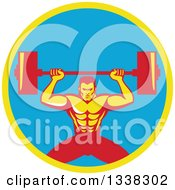 Clipart Of A Retro Strongman Bodybuilder Lifting A Barbell Over His Head In A Yellow And Blue Circle Royalty Free Vector Illustration
