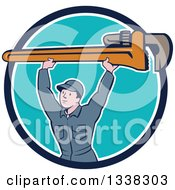 Clipart Of A Retro Cartoon White Male Plumber Holding A Giant Monkey Wrench Over His Head Emerging From A Blue And White Circle Royalty Free Vector Illustration