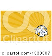Clipart Of A Retro Male Drain Layer Worker In A Shield And Yellow Rays Background Or Business Card Design Royalty Free Illustration by patrimonio