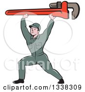 Clipart Of A Retro Cartoon White Male Plumber Lunging And Holding A Giant Monkey Wrench Over His Head Royalty Free Vector Illustration