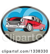 Clipart Of A Retro Woodcut Red Classic Car In An Oval Royalty Free Vector Illustration