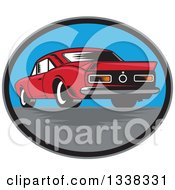 Clipart Of A Rear View Of A Retro Woodcut Rear Muscle Car In An Oval Royalty Free Vector Illustration