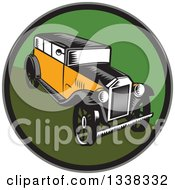 Clipart Of A Retro Woodcut Antique Car In A Circle Royalty Free Vector Illustration
