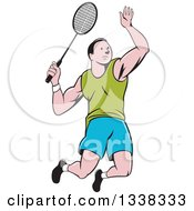 Clipart Of A Retro Cartoon White Male Badminton Player Jumping With A Racket Royalty Free Vector Illustration
