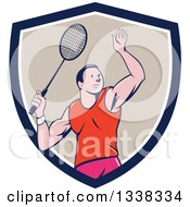 Clipart Of A Retro Cartoon White Male Badminton Player With A Racket In A Navy Blue White And Tan Shield Royalty Free Vector Illustration